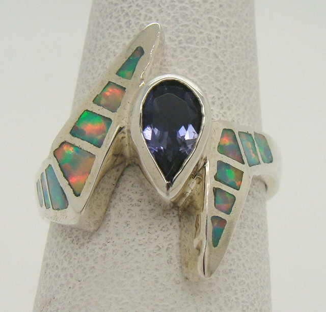 Sterling Silver Lab Opal Ring Size 6 1/4 (JA-310)