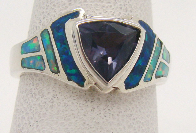 Sterling Silver Lab Opal Ring Size 6 1/2 (JA-311)