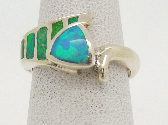 Sterling Silver Lab Opal Ring Size 5 1/2 (JA-312)
