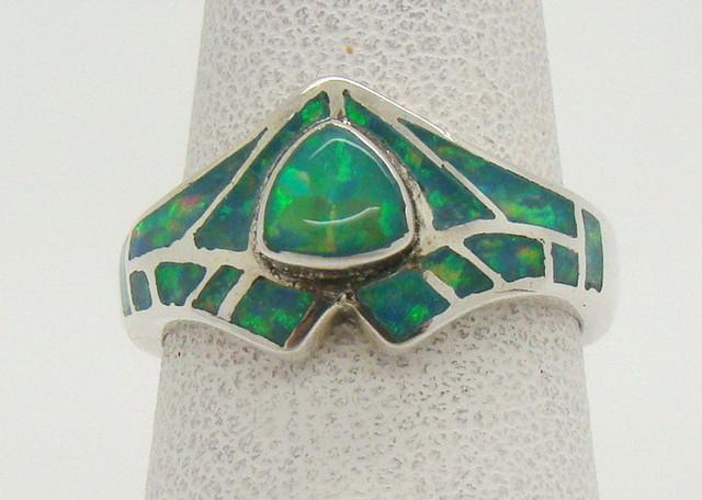 Sterling Silver Lab Opal Ring Size 5 3/4 (JA-313)