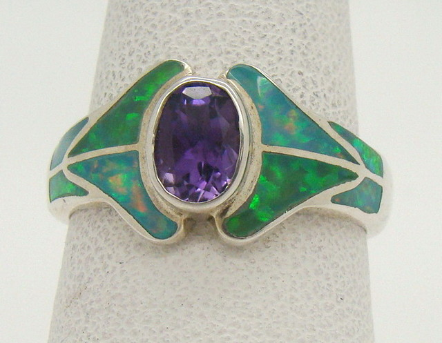Sterling Silver Lab Opal Ring Size 7 (JA-314)