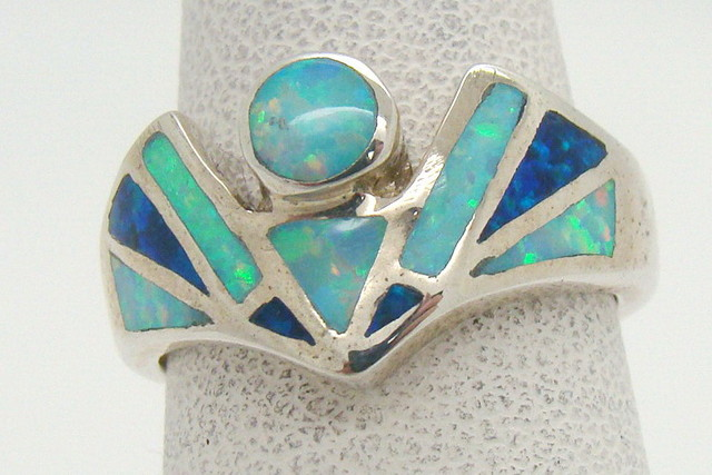 Sterling Silver Lab Opal Ring Size 5 1/4 (JA-315)