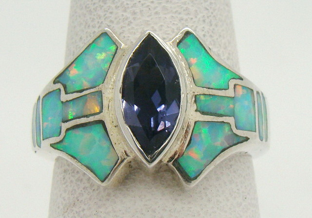 Sterling Silver Lab Opal Ring Size 7 1/4 (JA-316)