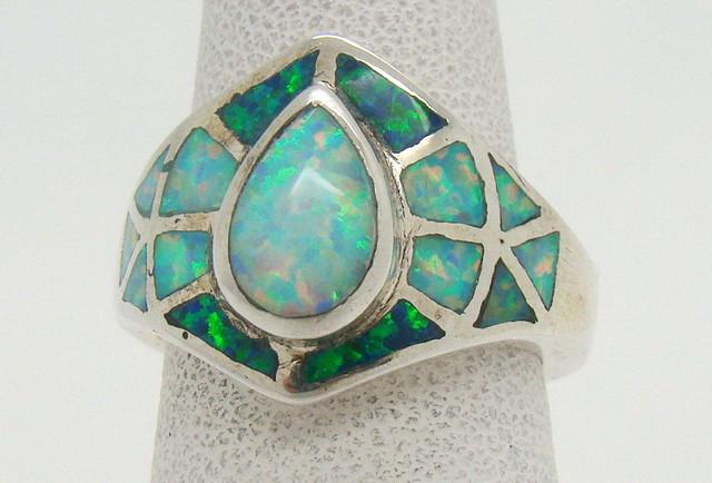 Sterling Silver Lab Opal Ring Size 5 (JA-317)
