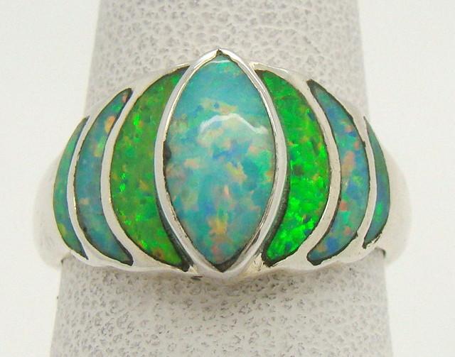 Sterling Silver Lab Opal Ring Size 6 1/4 (JA-318)