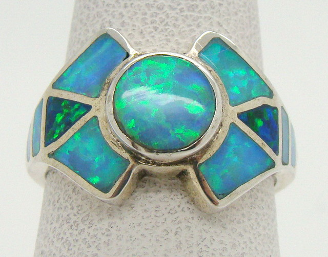 Sterling Silver Lab Opal Ring Size 6 1/4 (JA-319)
