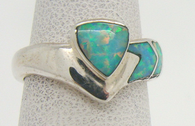 Sterling Silver Lab Opal Ring Size 5 1/2 (JA320)