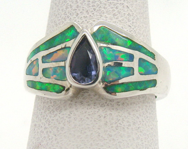 Sterling Silver Lab Opal Ring Size 6 1/2 (JA-322)