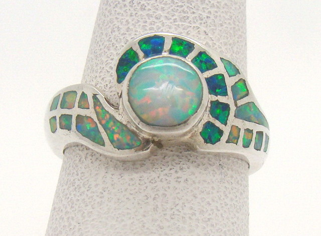 Sterling Silver Lab Opal Ring Size 6 1/2 (JA-323)