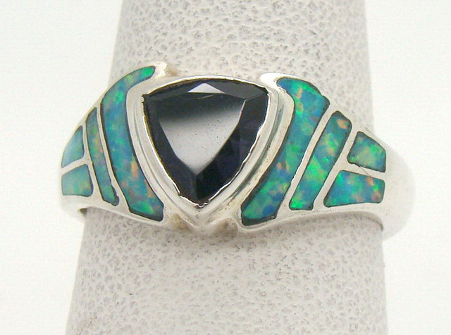 Sterling Silver Lab Opal Ring Size 6 1/2 (JA-324)