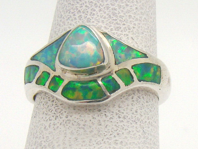 Sterling Silver Lab Opal Ring Size 5 1/4 (JA-325)