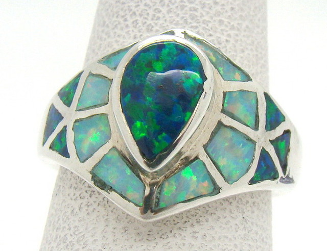 Sterling Silver Lab Opal Ring Size 5 1/4 (JA-326)