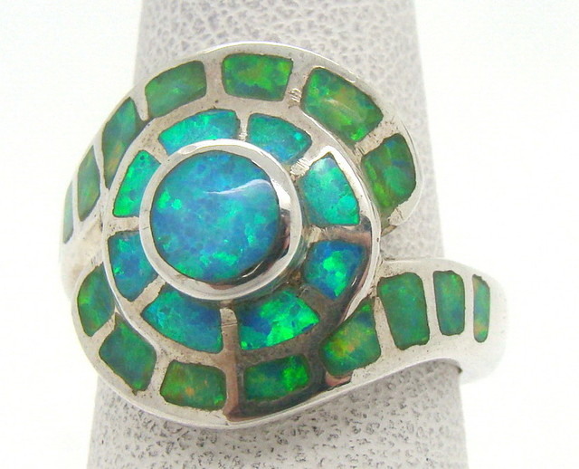 Sterling Silver Lab Opal Ring Size 5 1/2 (JA-327)