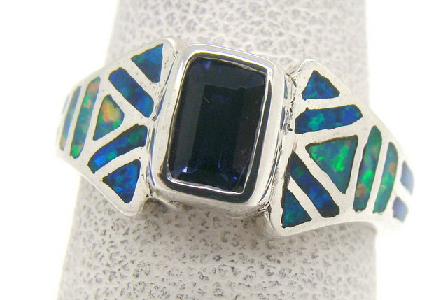 Sterling Silver Lab Opal Ring Size 5 (JA-328)