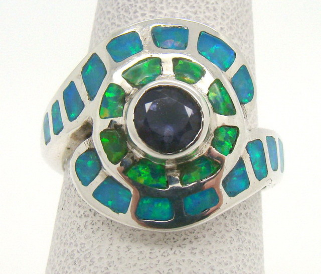 Sterling Silver Lab Opal Ring Size 5 1/2 (JA-329)