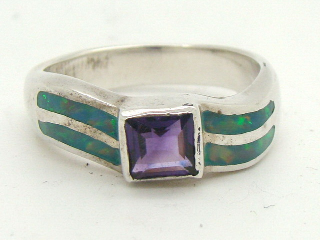 Sterling Silver Lab Opal Ring Size 6 3/4 (JA-330)
