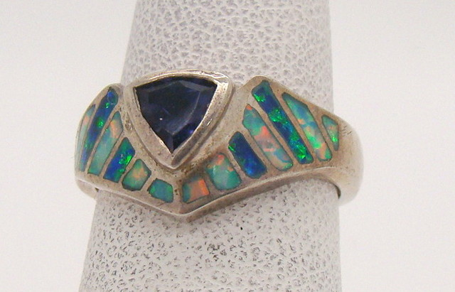 Sterling Silver Lab Opal Ring Size 4 1/4 (JA-341)