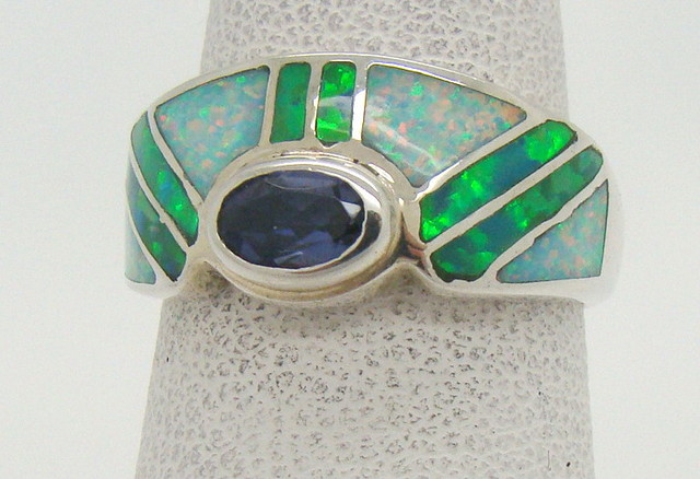 Sterling Silver Lab Opal Ring Size 5 (JA-343)