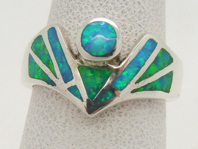Sterling Silver Lab Opal Ring Size 6 (JA-345)