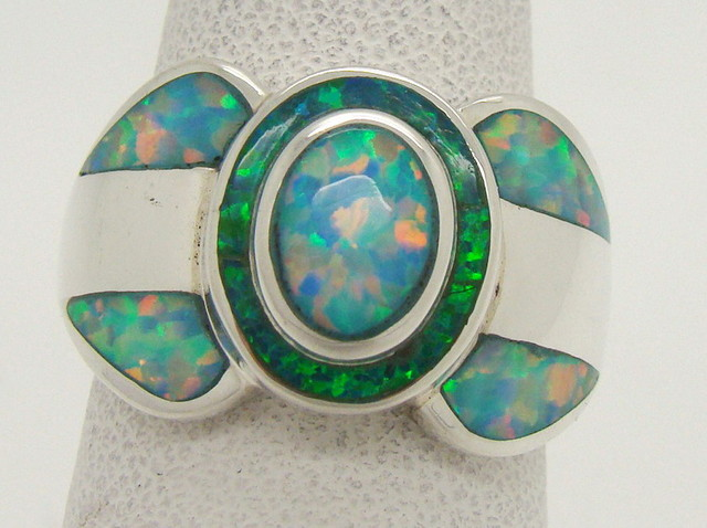 Sterling Silver Lab Opal Ring Size 6 3/4 (JA-347)