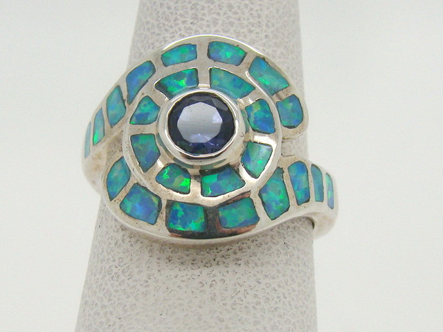 Sterling Silver Lab Opal Ring Size 5 1/2  (JA-348)