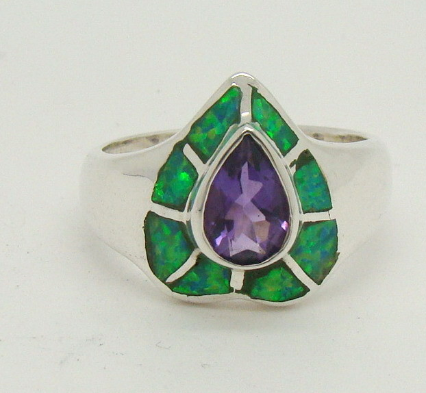 Sterling Silver Lab Opal Ring Size 6 1/2 (JA-349)