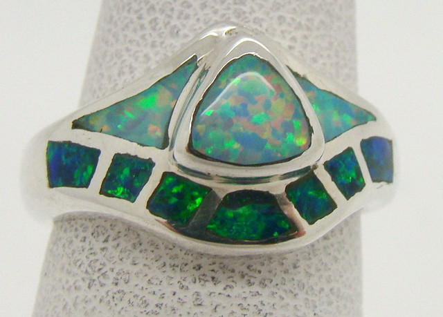Sterling Silver Lab Opal Ring Size 5 (JA-350)