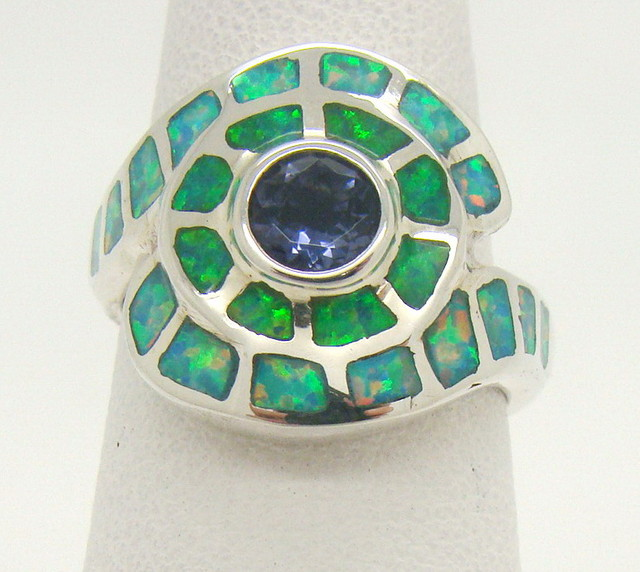 Sterling Silver Lab Opal Ring Size 5 (JA-332)