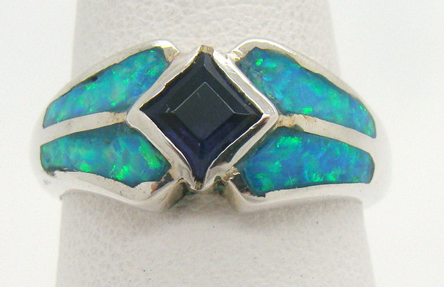Sterling Silver Lab Opal Ring Size7 (JA-334)