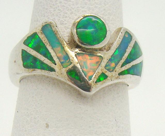 Sterling Silver Lab Opal Ring Size 5 (JA-335)