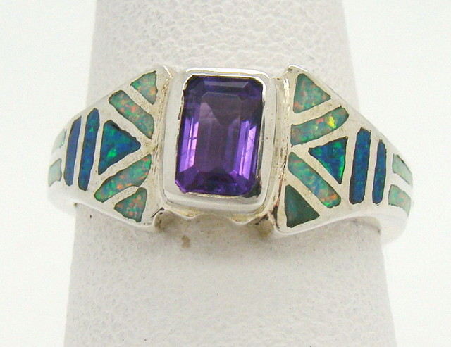 Sterling Silver Lab Opal Ring Size 6 1/4 (JA-336)