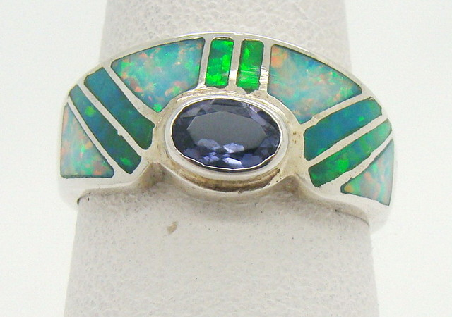 Sterling Silver Lab Opal Ring Size 6 1/2 (JA-337)