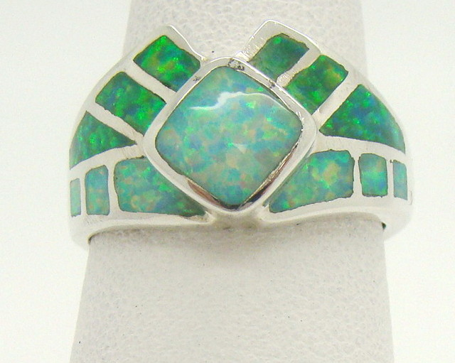 Sterling Silver Lab Opal Ring Size 5 1/2 (JA-338)