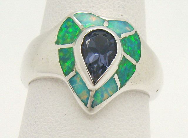 Sterling Silver Lab Opal Ring Size 8 (JA-339)