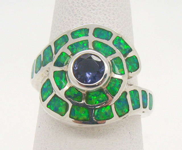 Sterling Silver Lab Opal Ring Size 5 (JA-351)