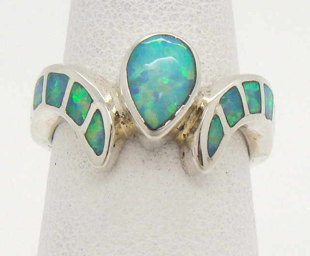 Sterling Silver Lab Opal Ring Size 6 (JA-352)