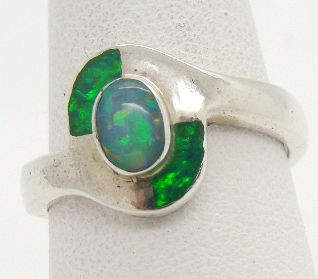 Sterling Silver Lab Opal Ring Size 8 1/2 (JA-353)