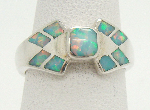 Sterling Silver Lab Opal Ring Size 5 3/4 (JA-354)