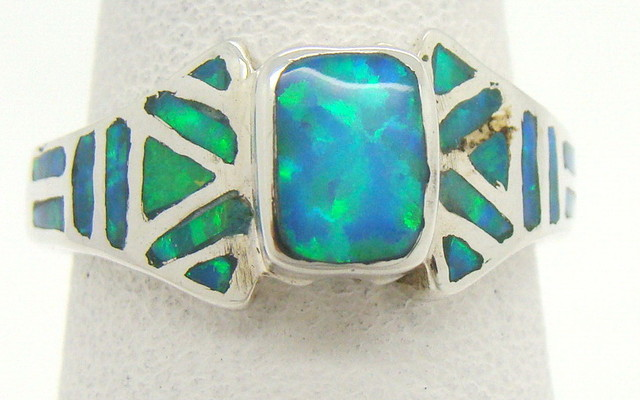 Sterling Silver Lab Opal Ring Size 5 3/4 (JA-355)