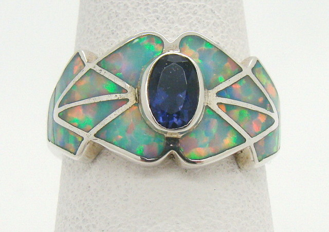 Sterling Silver Lab Opal Ring Size 6 (JA-356)