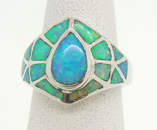 Sterling Silver Lab Opal Ring Size 4 3/4 (JA-358)
