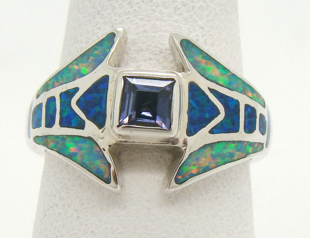 Sterling Silver Lab Opal Ring Size 7 (JA-359)