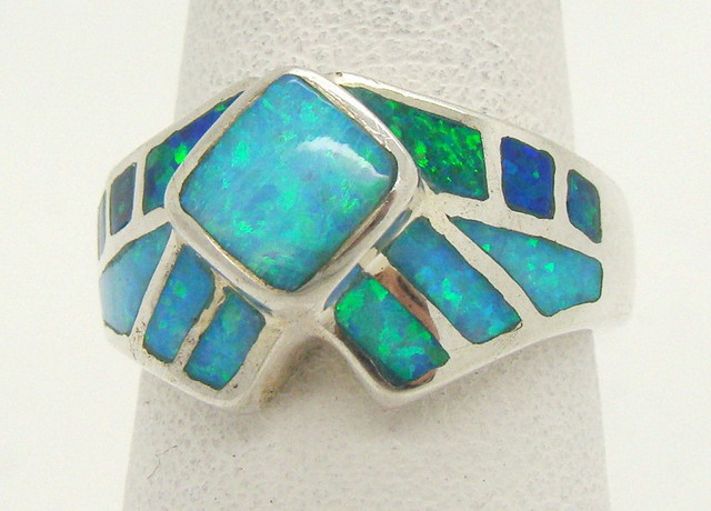 Sterling Silver Lab Opal Ring Size 6 3/4 (JA-360)