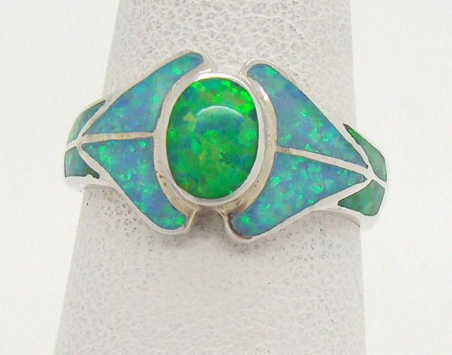 Sterling Silver Lab Opal Ring Size 6 (JA-362)