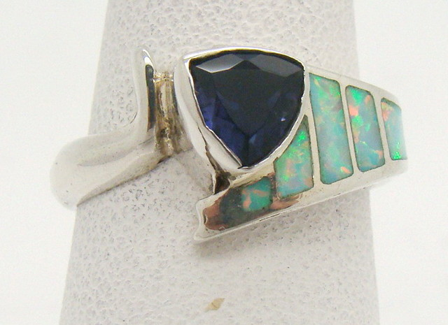 Sterling Silver Lab Opal Ring Size 6 1/4 (JA-363)