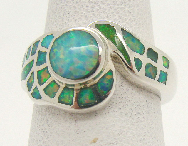 Sterling Silver Lab Opal Ring Size 6 (JA-364)