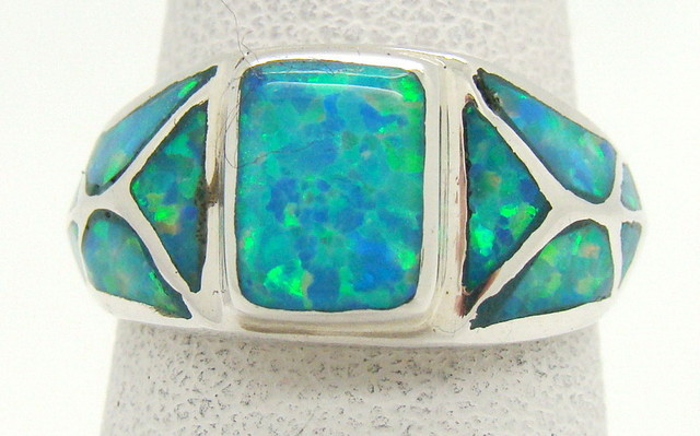 Sterling Silver Lab Opal Ring Size 5 (JA-365)