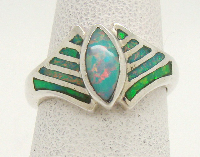 Sterling Silver Lab Opal Ring Size 4 1/2 (JA-366)
