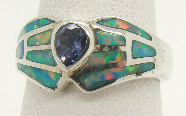 Sterling Silver Lab Opal Ring Size 6 1/2 (JA-367)