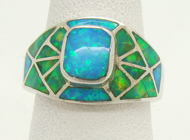 Sterling Silver Lab Opal Ring Size 7 1/4 (JA-368)
